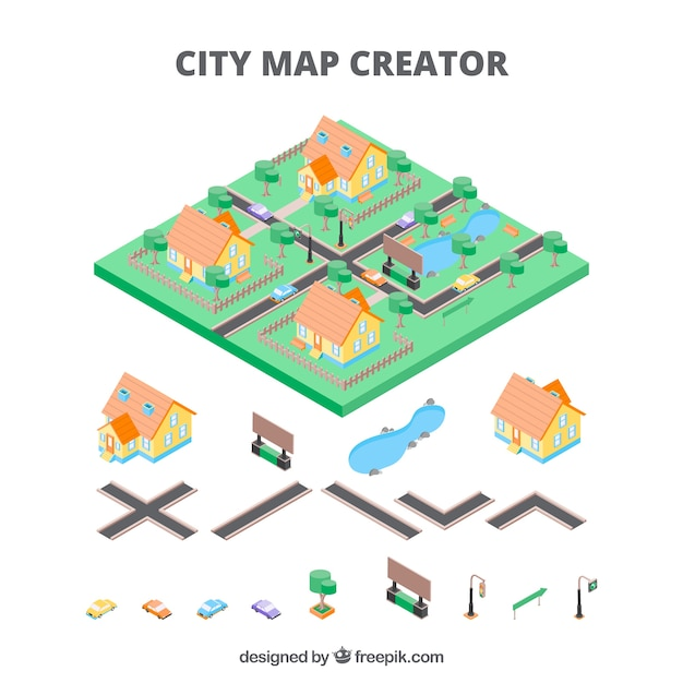 Mapmaker for cities in isometric view Vector Free Download - isometric view