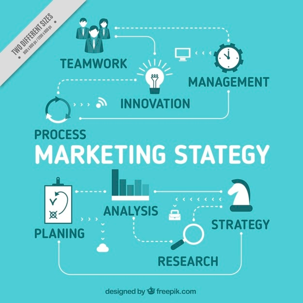 Marketing strategy background in blue tones Vector Free Download