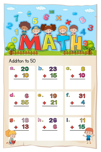 Math worksheet template for addition to fifty Vector Free Download - math worksheet template