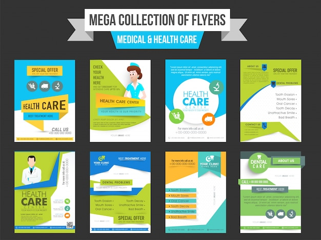 Mega collection of eight flyers or templates design for Medical and - web flyer
