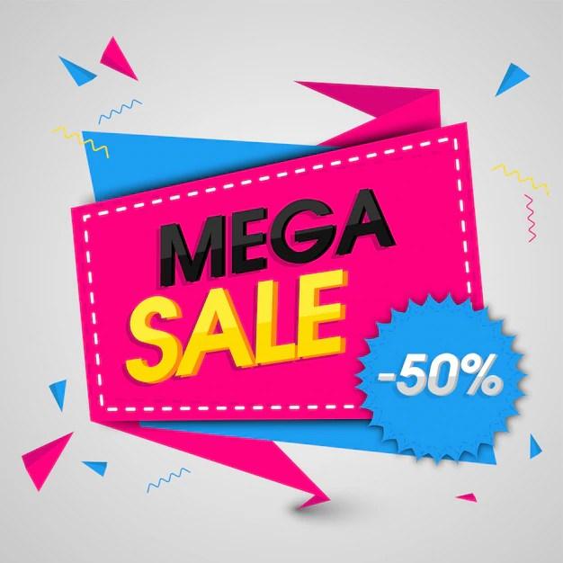 Mega sale banner or sale poster design with 50 off offer Vector