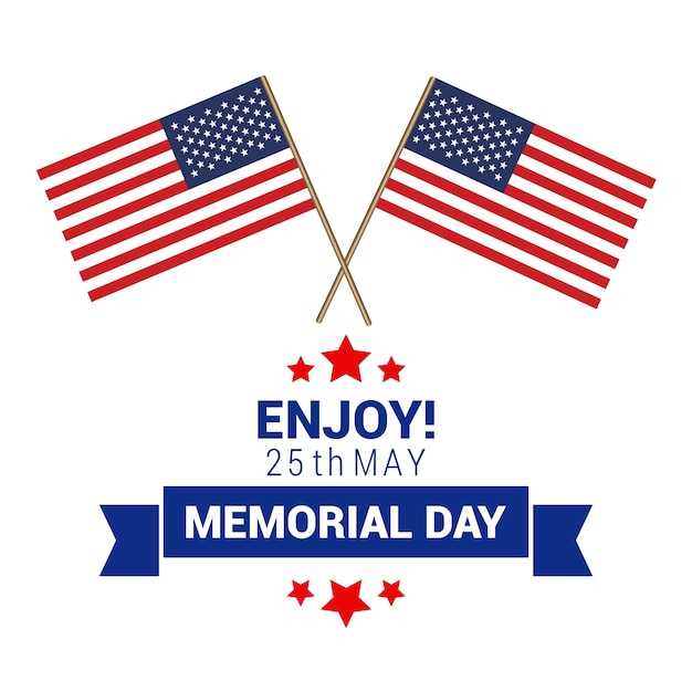 Memorial day design with two american flags Vector Free Download