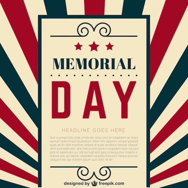Memorial Day template Vector Free Download - free memorial template