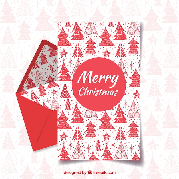 Merry christmas and happy holiday red letter template Vector Free