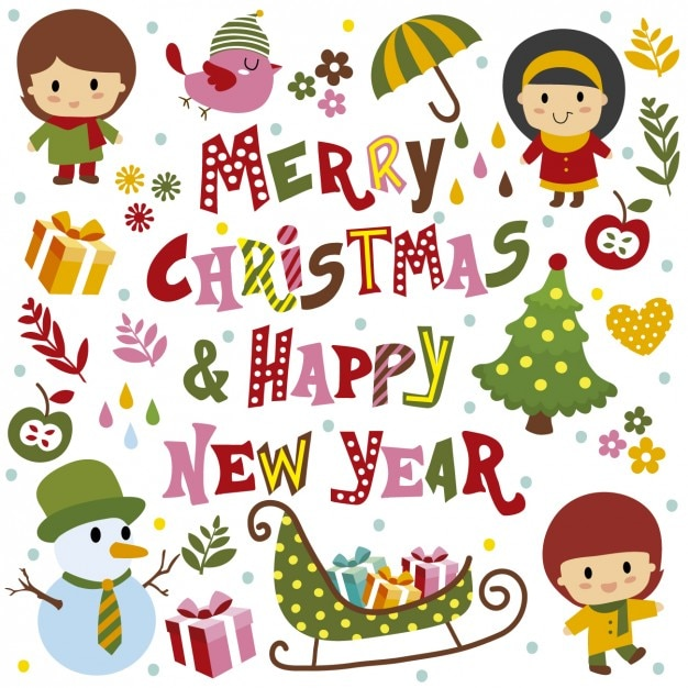 Merry christmas and Happy new year card Vector Free Download - merry christmas email banner