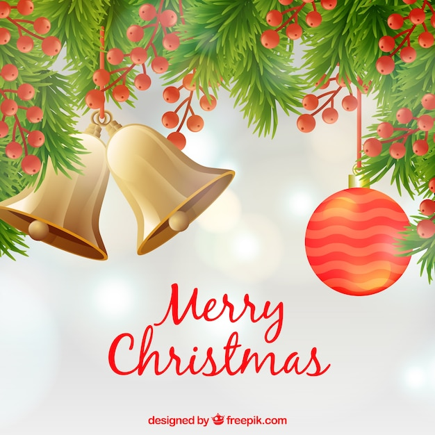 Merry christmas background with christmas decorations Vector Free