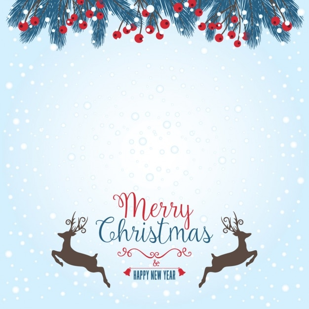 Merry christmas background with deers Vector Free Download