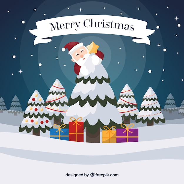 Merry christmas background with santa claus and snowy tree Vector