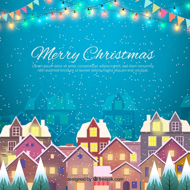 Merry christmas background with snowy city Vector Free Download