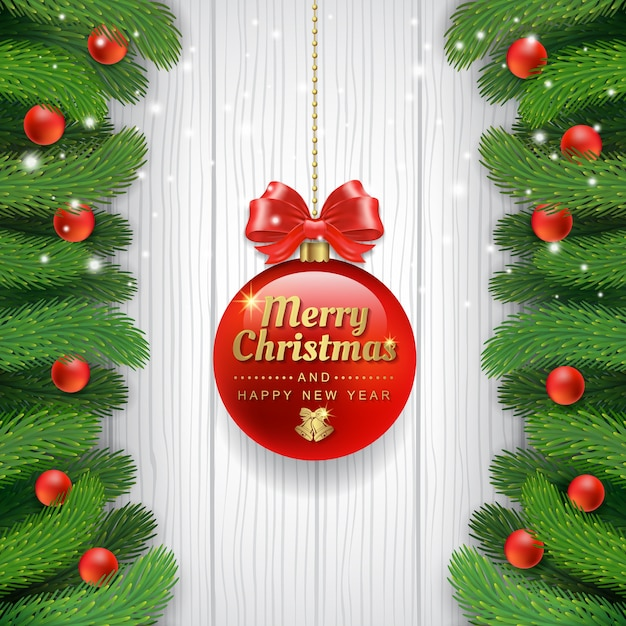 Merry christmas banner template christmas tree and balls Vector