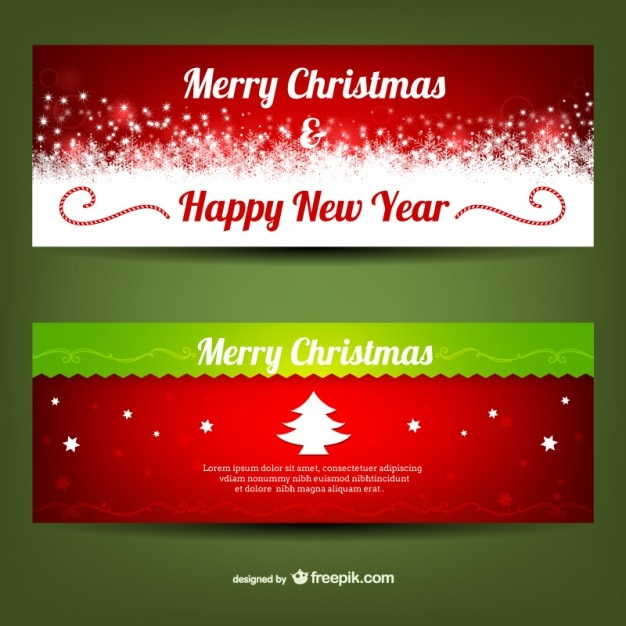 Merry christmas banner templates Vector Free Download