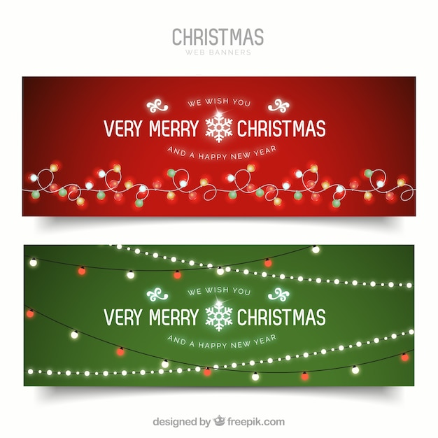 Merry christmas banners with lights Vector Free Download - merry christmas email banner