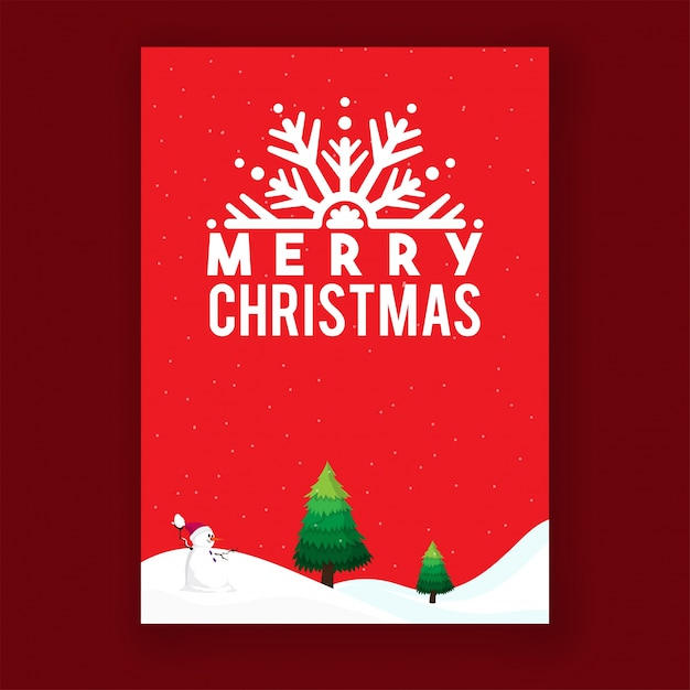 Merry Christmas Greeting card layout Vector Premium Download