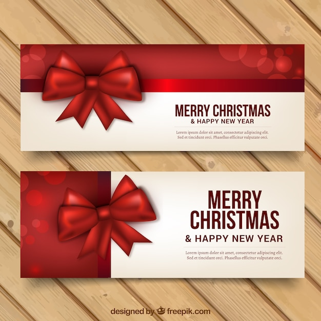 Merry christmas and new year banners with red ribbons Vector Free