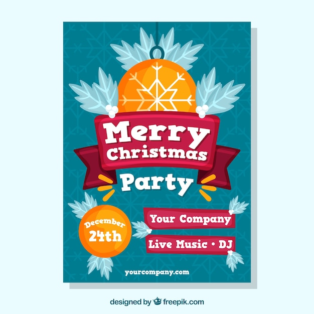Merry christmas party invitation Vector Free Download