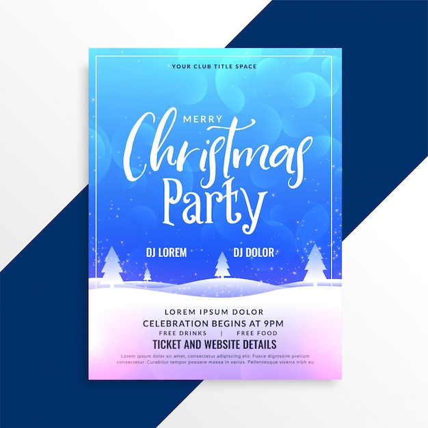 Merry christmas winter scene party flyer template Vector Free Download