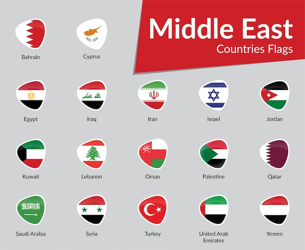 Middle east countries flag icon collection Vector Premium Download