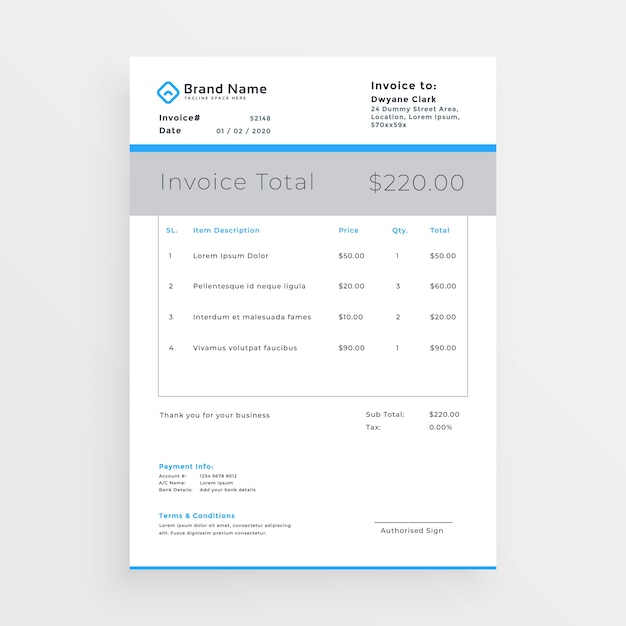 Minimal style invoice template design Vector Free Download