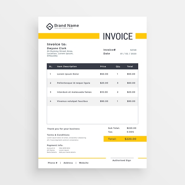 Minimal yellow invoice template vector design Vector Free Download
