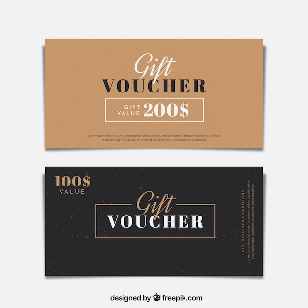 Minimalist gift vouchers Vector Free Download