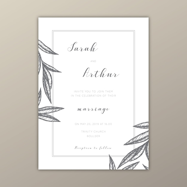 Minimalist wedding invitation template with illustrations Vector - invitation downloads