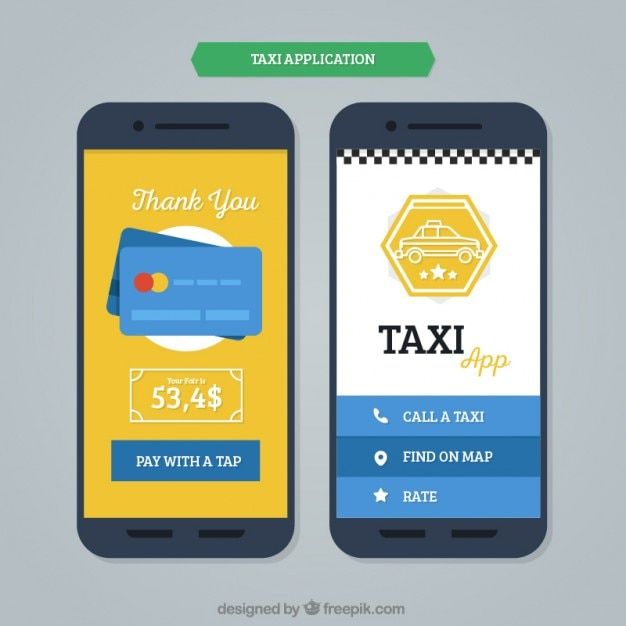 Mobile application template for taxis Vector Free Download - Free App Template