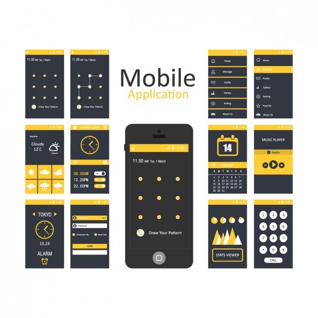 Mobile applications templates Vector Free Download - Free App Template
