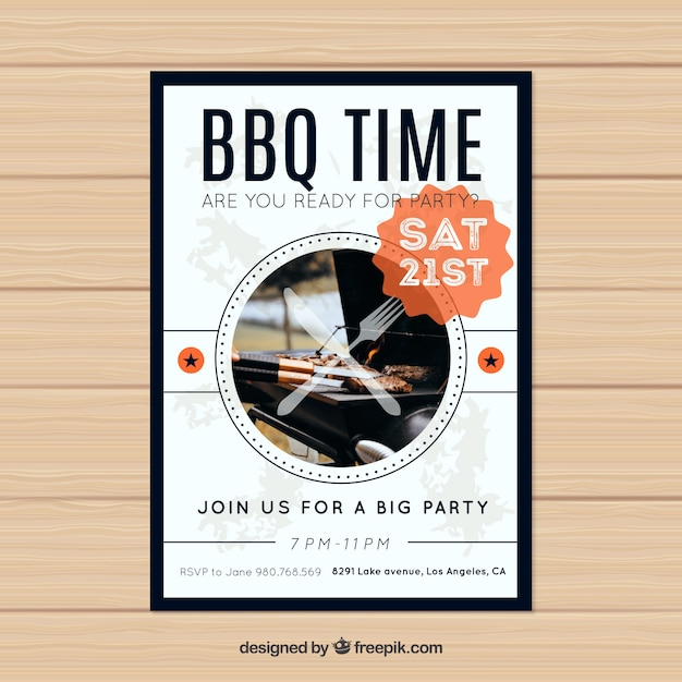 Modern bbq invitation template Vector Free Download