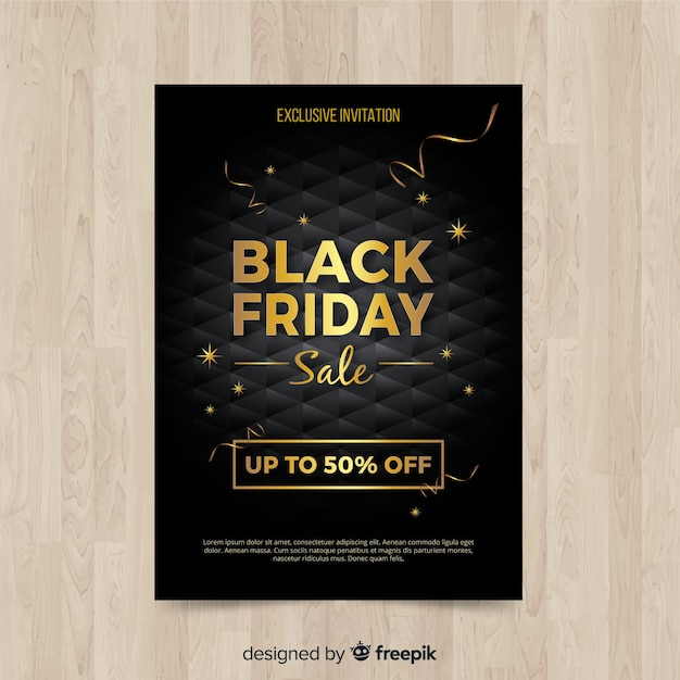 Modern black friday flyer template with realistic design Vector