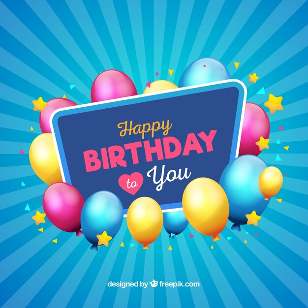 Modern blue birthday background Vector Free Download - birthday backround