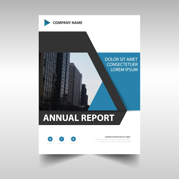 Modern blue corporate annual report design Vector Free Download - reports designs