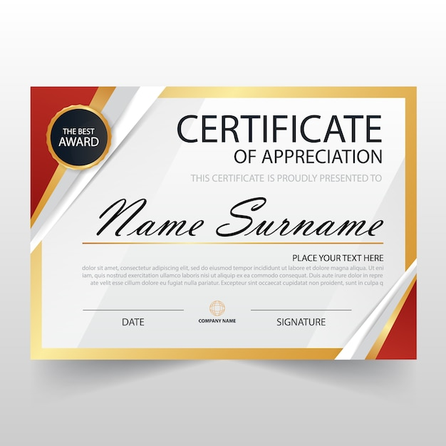 Modern certificate of appreciation template Vector Free Download - Award Paper Template