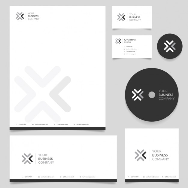 Modern corporate stationery Vector Free Download