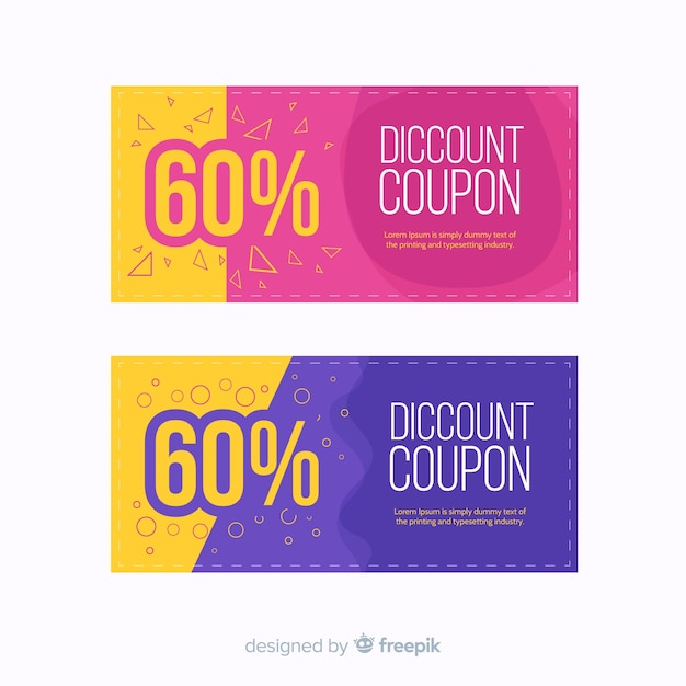 Modern coupon or voucher template concept Vector Free Download