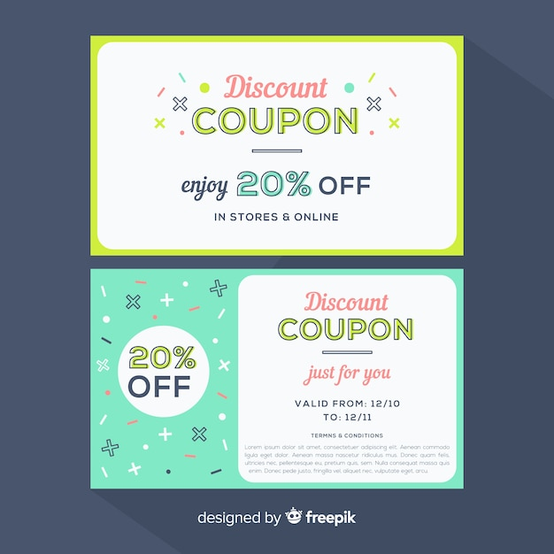Modern coupon or voucher template design Vector Free Download
