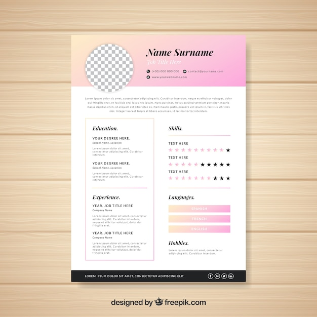 Modern cv template with elegant style Vector Free Download