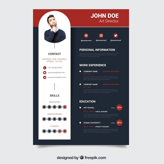 Modern dark resume template Vector Free Download