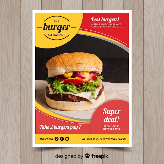 Modern fast food restaurant flyer template Vector Free Download