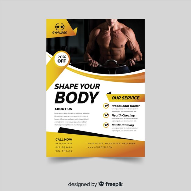 Modern fitness flyer template Vector Free Download