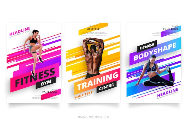 Modern fitness  gym brochure collection Vector Free Download