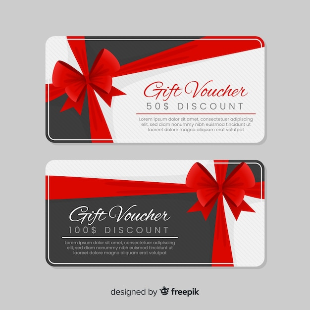 Modern gift voucher template with flat design Vector Free Download