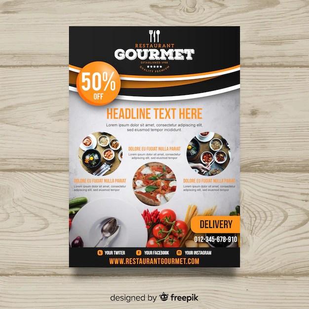 Modern gourmet restaurant flyer template Vector Free Download