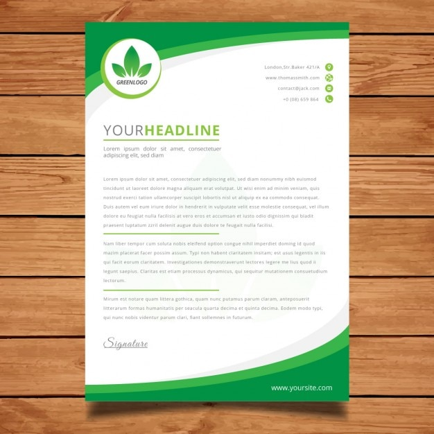Modern green corporate letterhead Vector Free Download