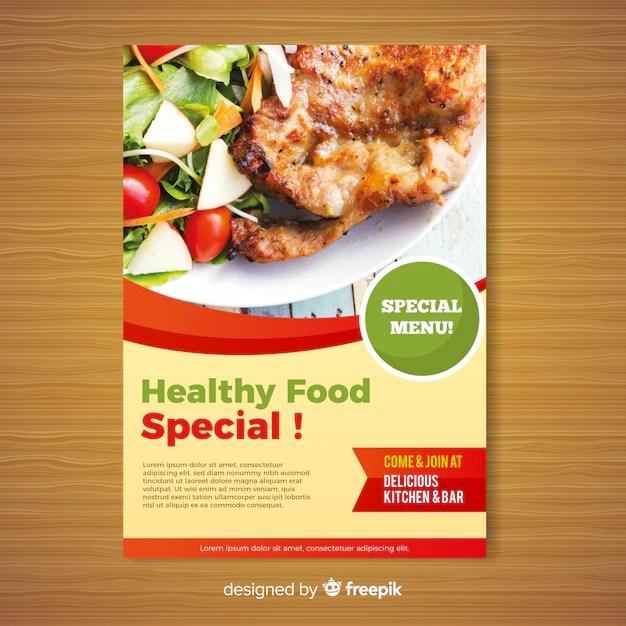 Modern healthy restaurant flyer template Vector Free Download