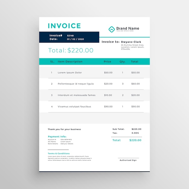 Modern invoice template design for your business Vector Free Download