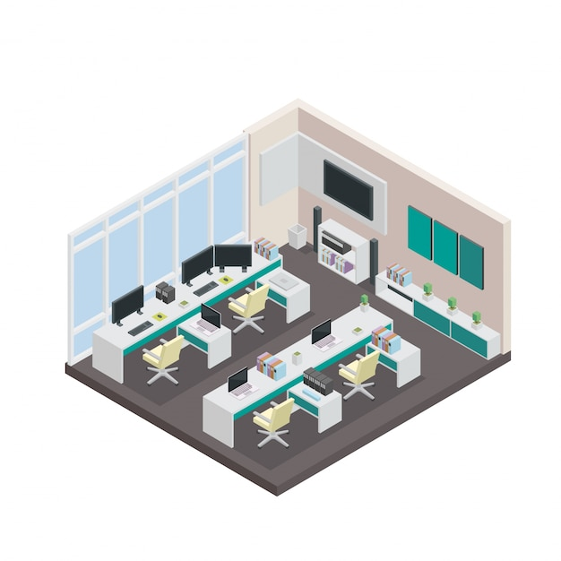 Modern Isometric 3D Office Interior Design Vector Free Download