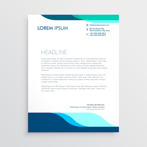 Modern letterhead design with clean blue shapes Vector Free Download
