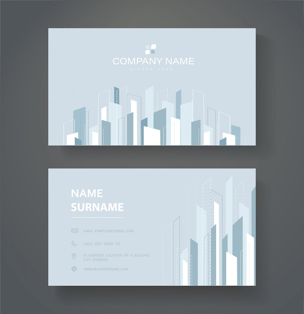 Modern line double sided business card template Vector Premium