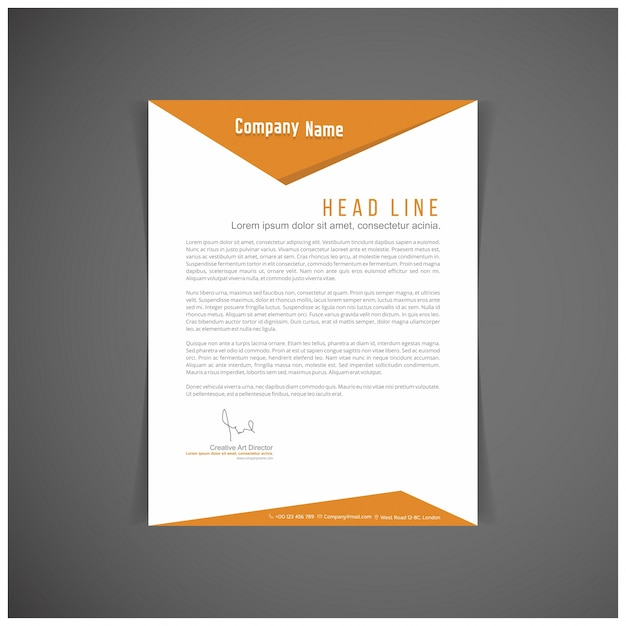 Modern orange letterhead Vector Free Download