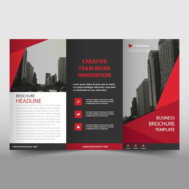 Modern red trifold business brochure template Vector Free Download - tri fold business brochure